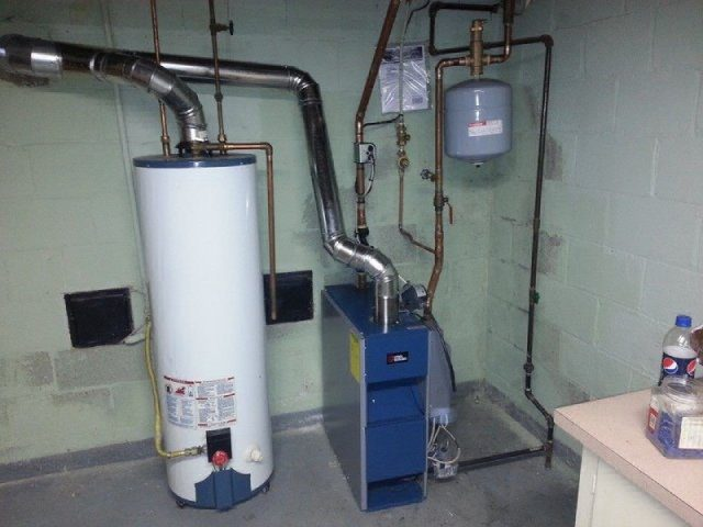 Water heater tank in a home